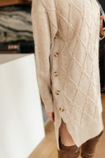 Diamond Details Sweater Tunic in Beige