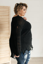 Distressed and Proud Sweater in Black/Charcoal