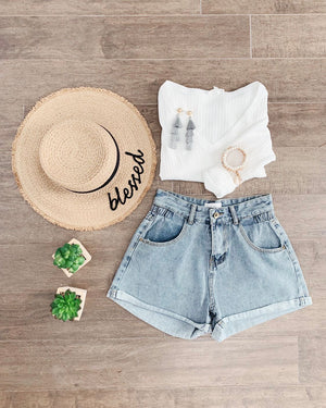 Elastic Detail High-waist Denim Shorts