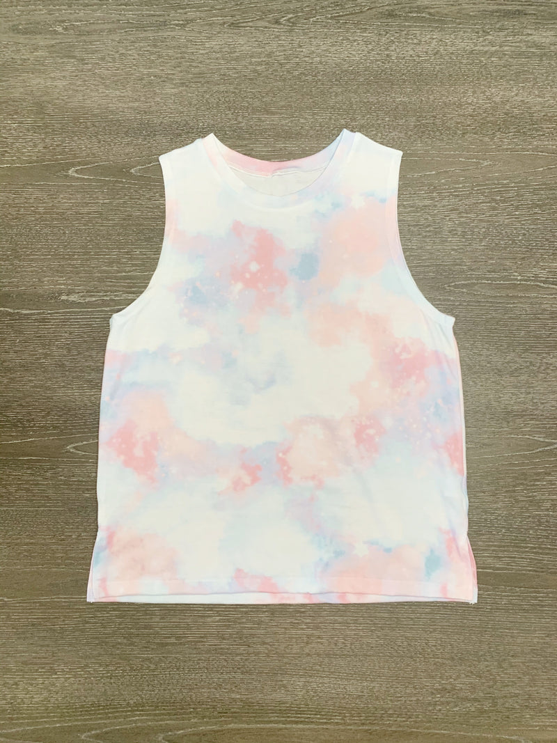 Alexis Tie Dye Lounge Top in Pink + Blue