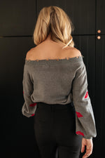 Luscious Lips Sweater in Grey