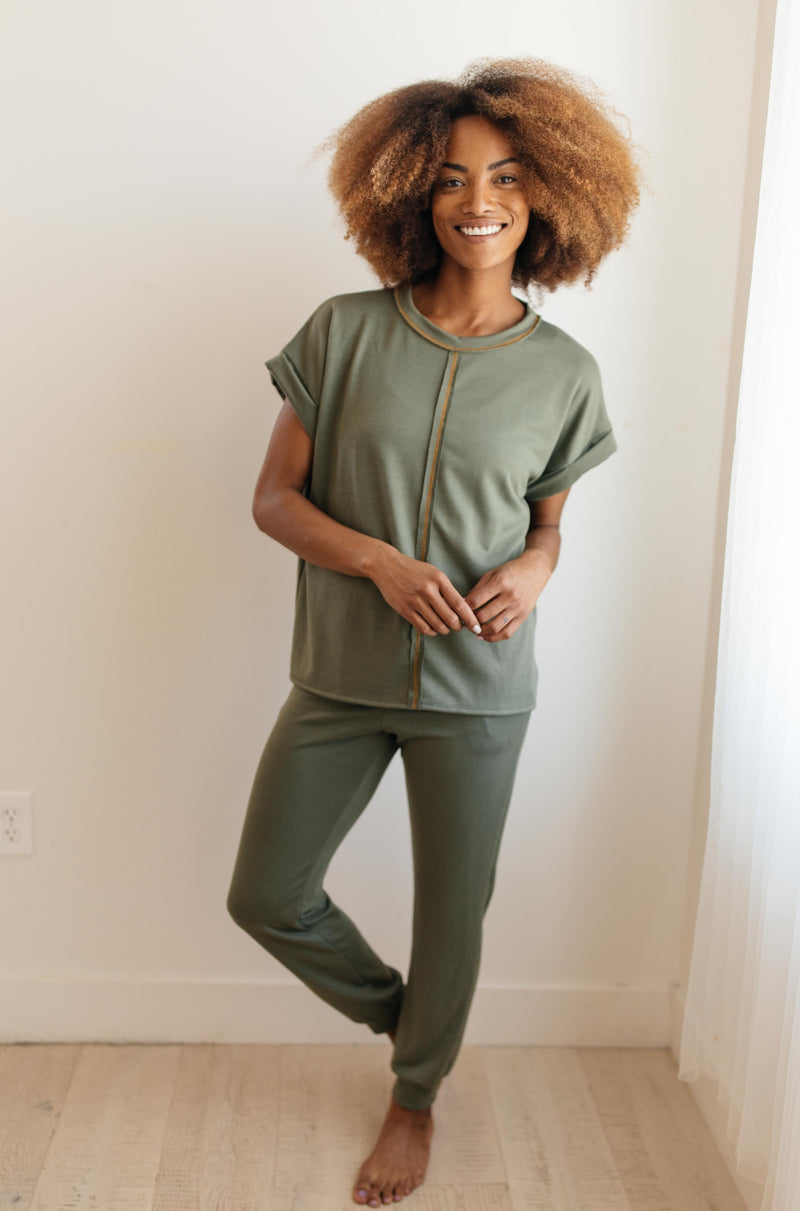 Luxurious Loungewear Joggers In Olive