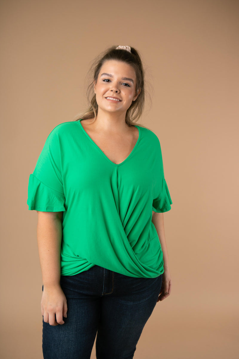 Nice Surprise Surplice Knit Top In Kelly Green
