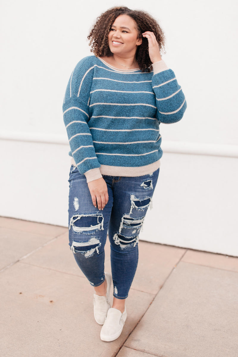 Ribbed and Striped Sweater in Teal