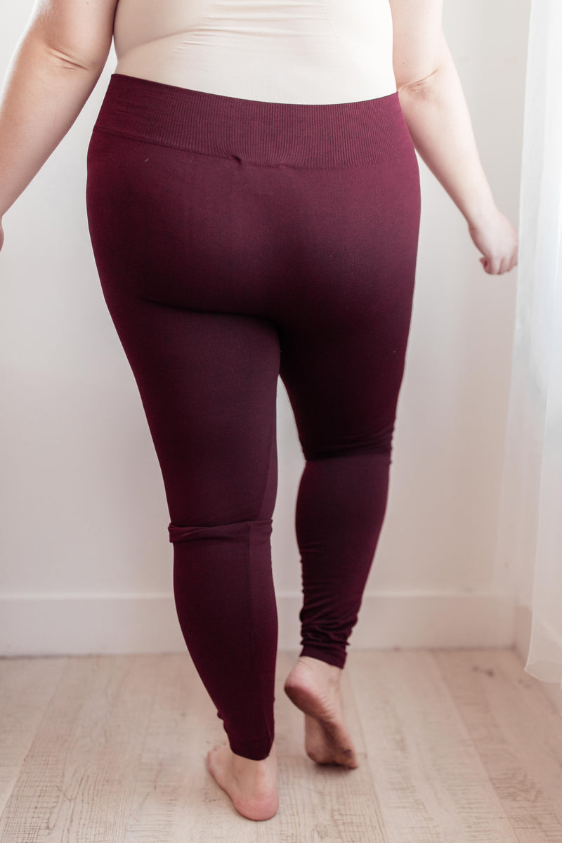 So Soft Inside Fleece Lined Leggings in Burgundy