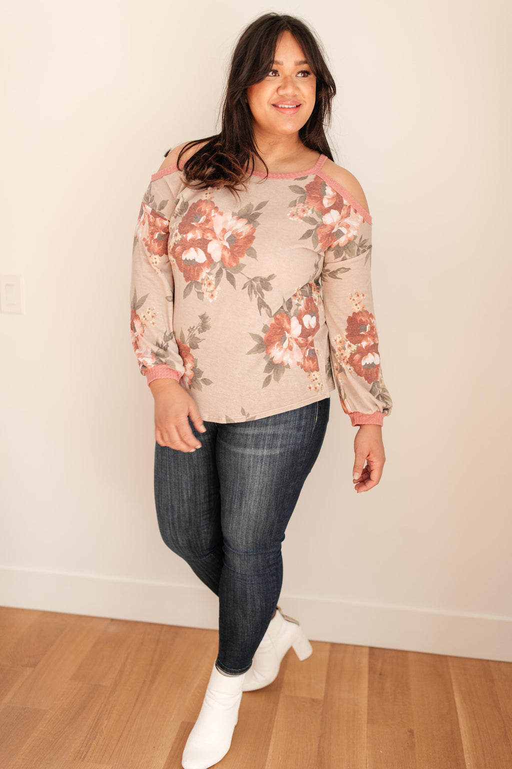 Waffle Meets Floral Cold Shoulder Top in Taupe