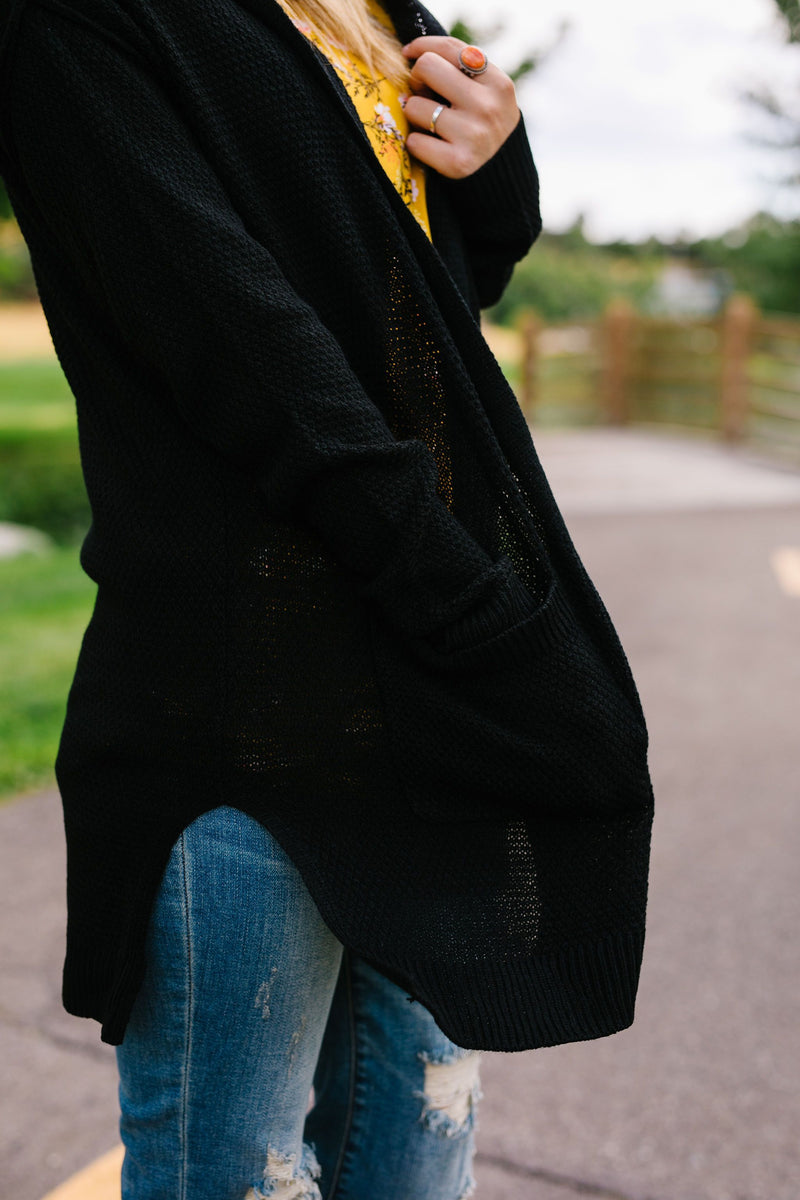 SAMPLE-Black Hooded Cardigan