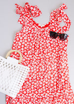 Spotted Rosette Dress In Red Coral SAMPLE