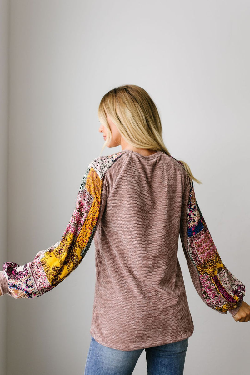 Playful Patchwork Sleeve Blouse SAMPLE