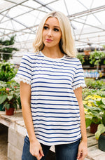 Sails To The Wind Top In Ivory & Blue SAMPLE