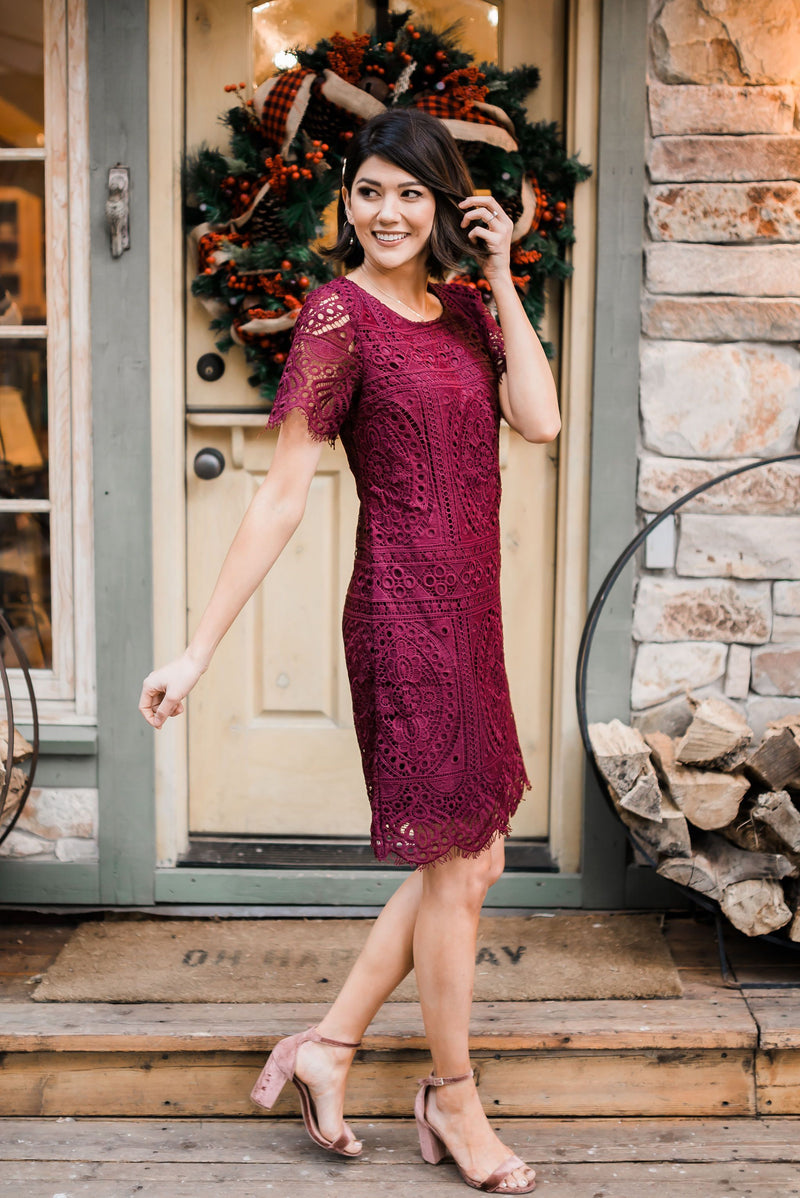 Scalloped Lace Overlay Dress SAMPLE