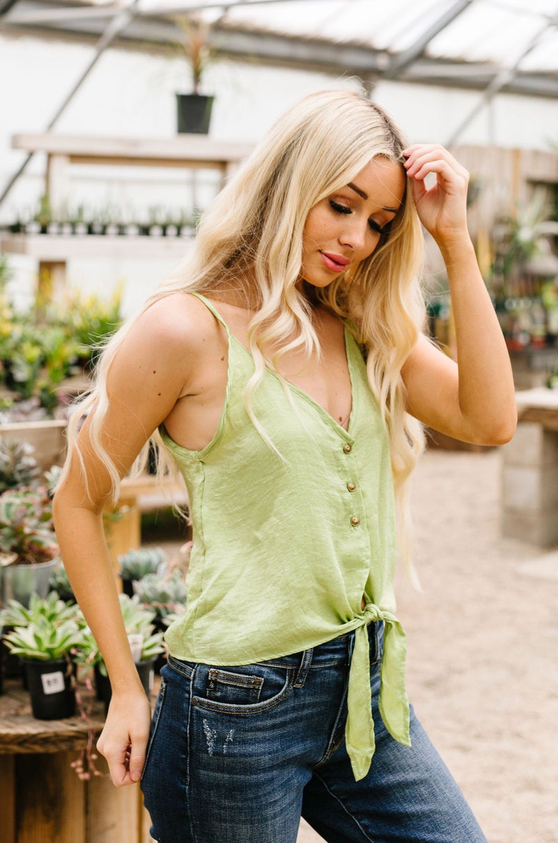 Silky Button-Down Tank In Lime