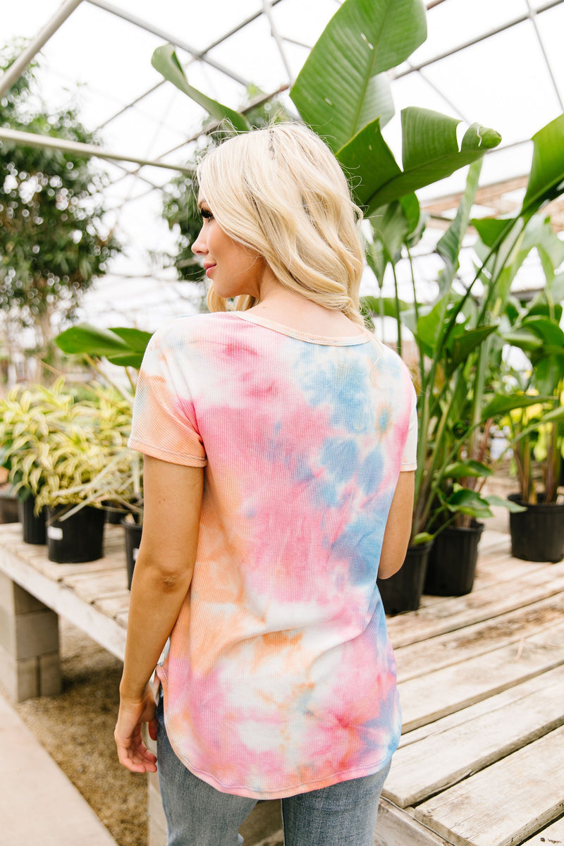 Sunset Tie Dye Waffle Knit Top SAMPLE