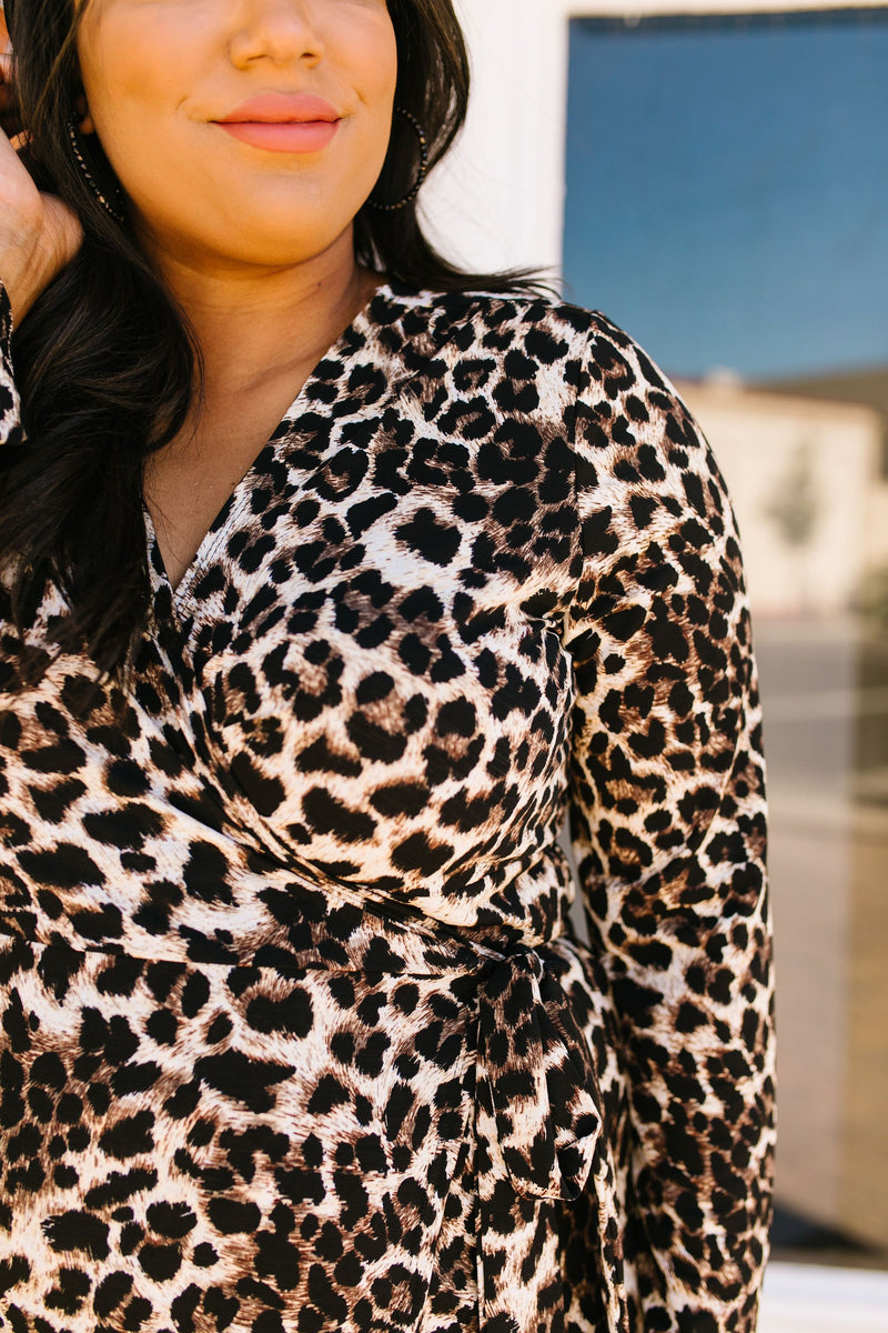 SAMPLE-It's A Jungle Out There Leopard Print Wrap Dress