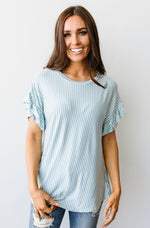 Vertical Horizon Striped Top In Blue
