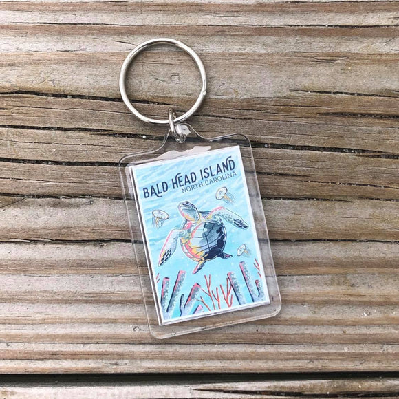 Graphic Pastel Sea Turtle Key Chain