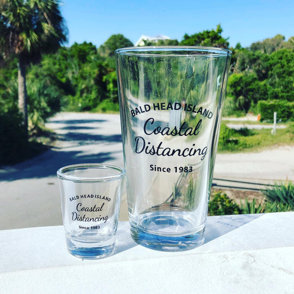 BHI Coastal Distancing Shot Glass & Pint Glass