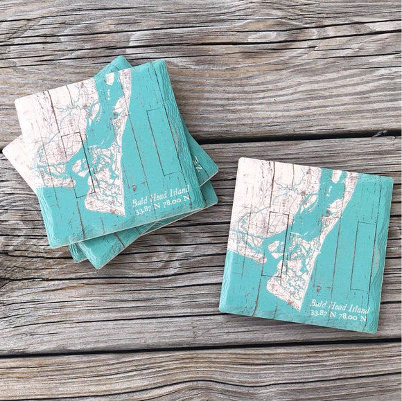 Turquoise Bald Head Island Coasters, Set of 4