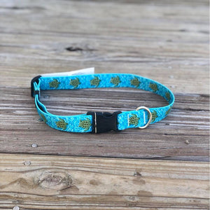 Swimming Sea Turtle Ribbon Dog Collar