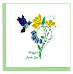 Quilling Card - Birthday Hummingbird