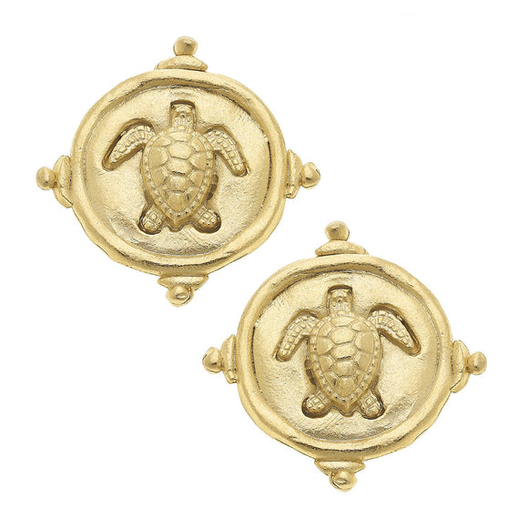 Gold Sea Turtle Pierced Earrings