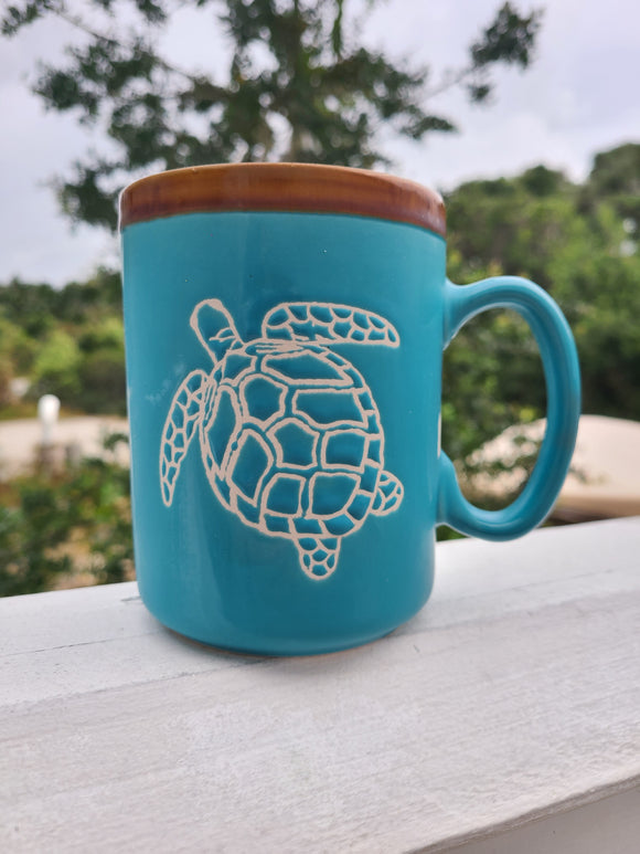 Hand Glazed Turtle Pottery Mug
