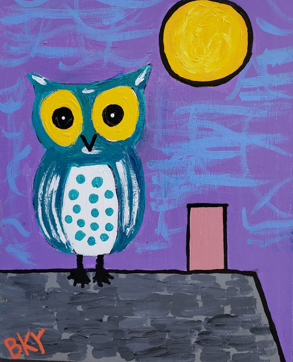 Owl Listens to the Sound of the Night Surf by Barbara Younger