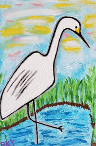 Egret Welcomes Morning on the Marsh Art Card by Barbara Younger