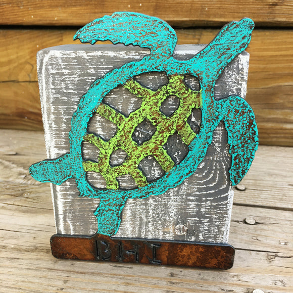 Metal Turtle Wood Block