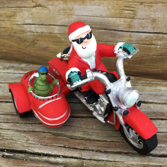 Santa & Turtle Biker Ornament