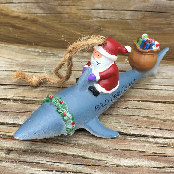 Santa on a Shark Ornament