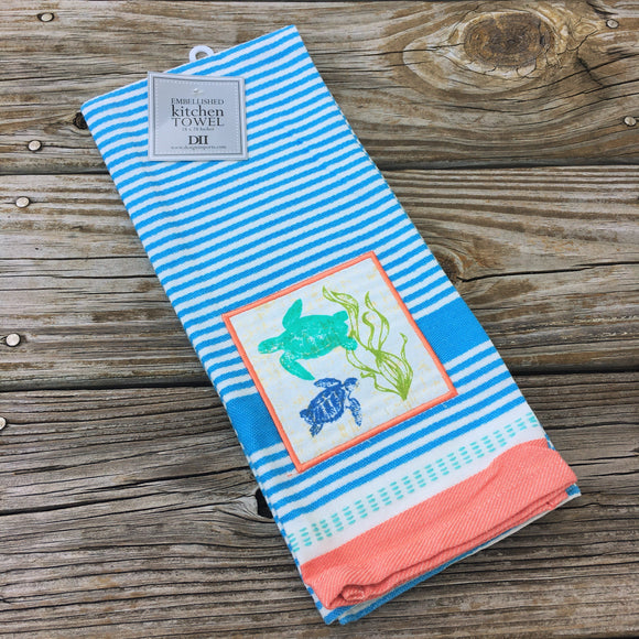 Embroidered Blue Stripe Dishtowel