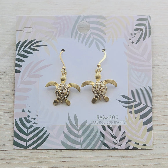 Bamboo Trading Company Gold Sea Turtle Drop Earrings