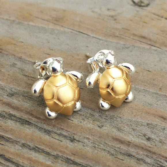 Two Tone Turtle Post Earrings