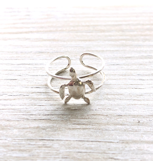 .925 Sterling Silver Sea Turtle Toe Ring