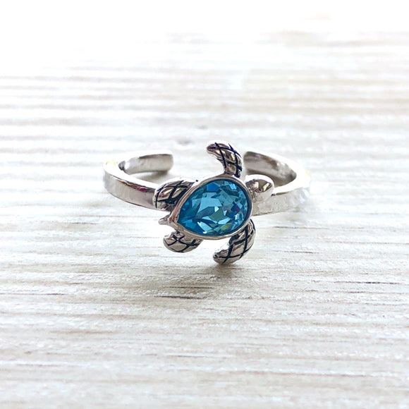 Sterling Silver Blue Topaz Sea Turtle Ring