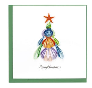 Quilled Seashell Christmas Tree Greeting Card