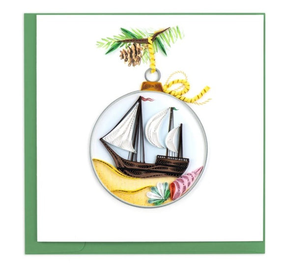 Schooner Ornament Quilling Card