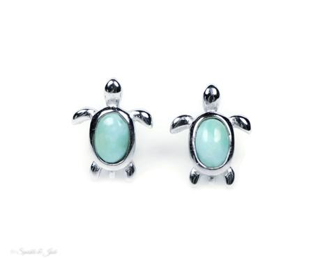 Larimar & Sterling Silver Sea Turtle Studs