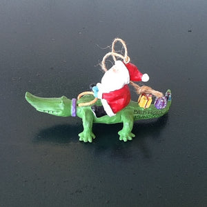 Santa Alligator Ornament