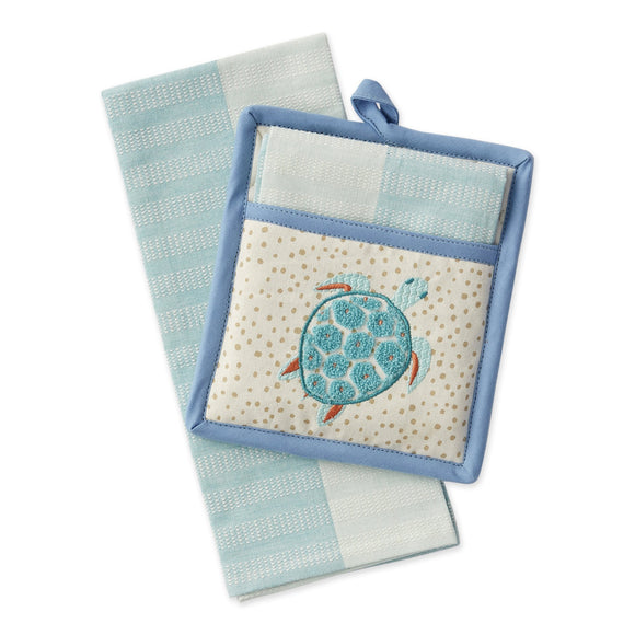 Sea Turtle Pot Holder and Dish Towel Set