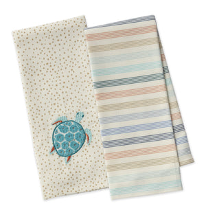 Embroidered Sea Turtle Dishtowel Set