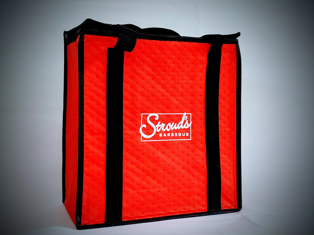 Dinner is delivered cooled, in an insulated bag with ice-packs. Unpack, heat & serve.