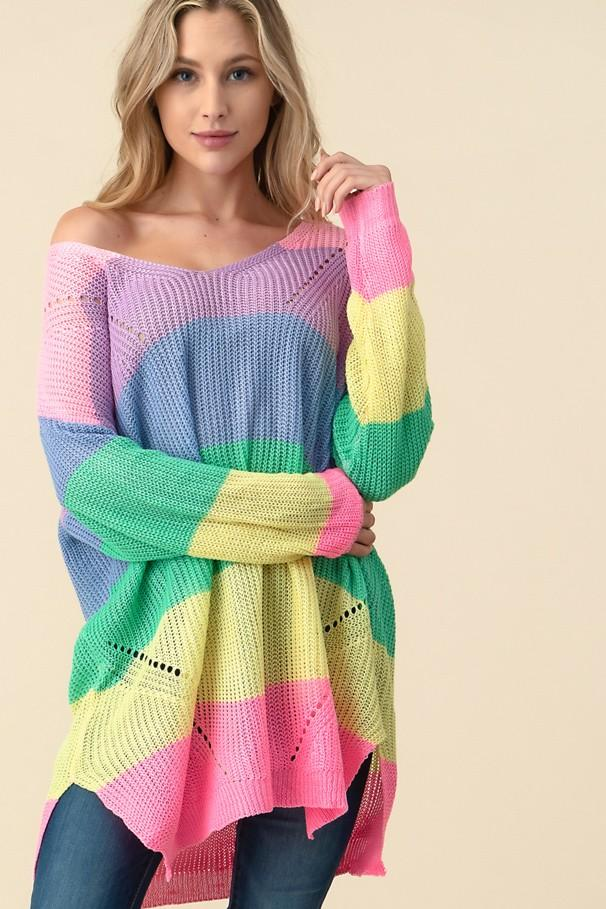 Oversized Rainbow Jumper