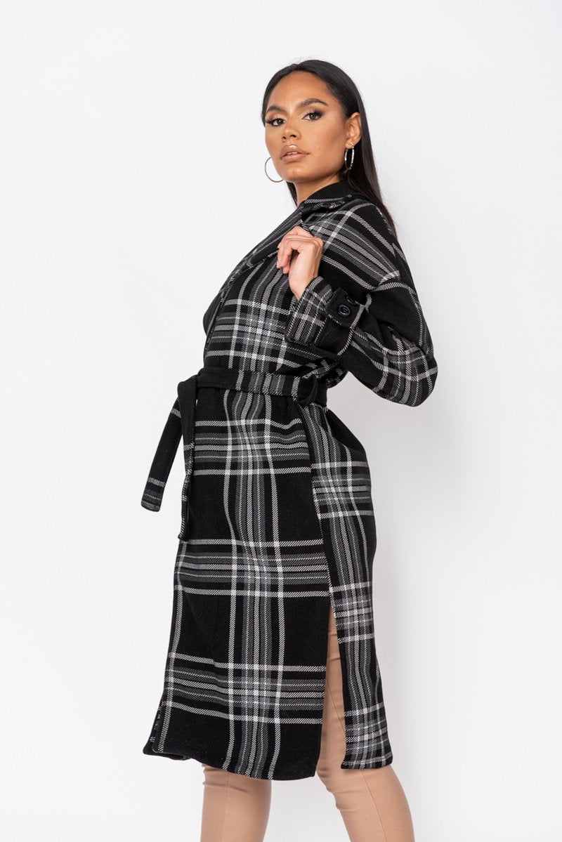 Black Check Collared Belted Trench Coat