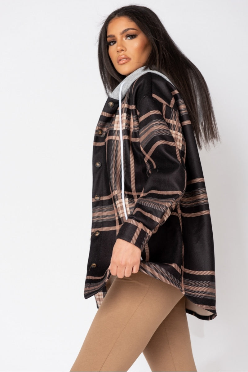 Black Check Oversized Hooded Jacket