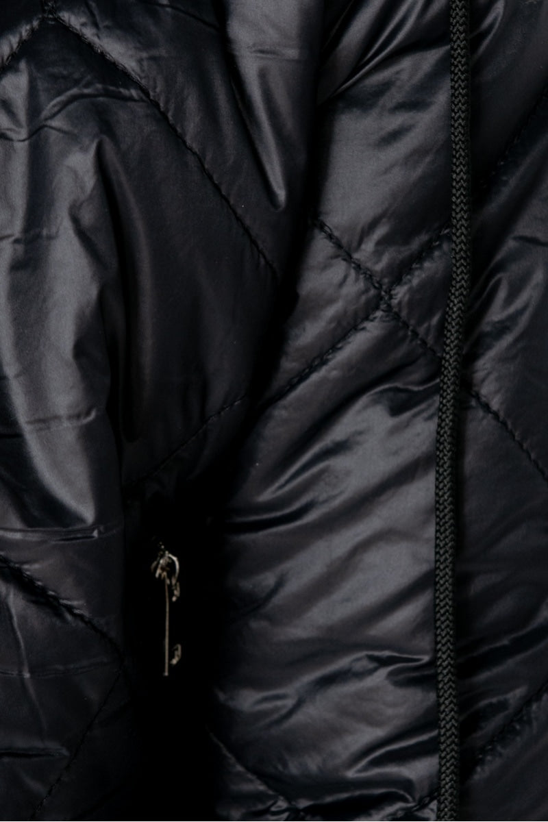 Black Diamond Quilt Hooded Bomber Jacket