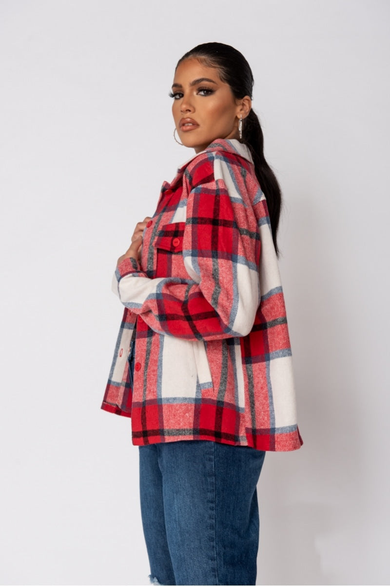 Red Oversized Patch Pocket Shacket