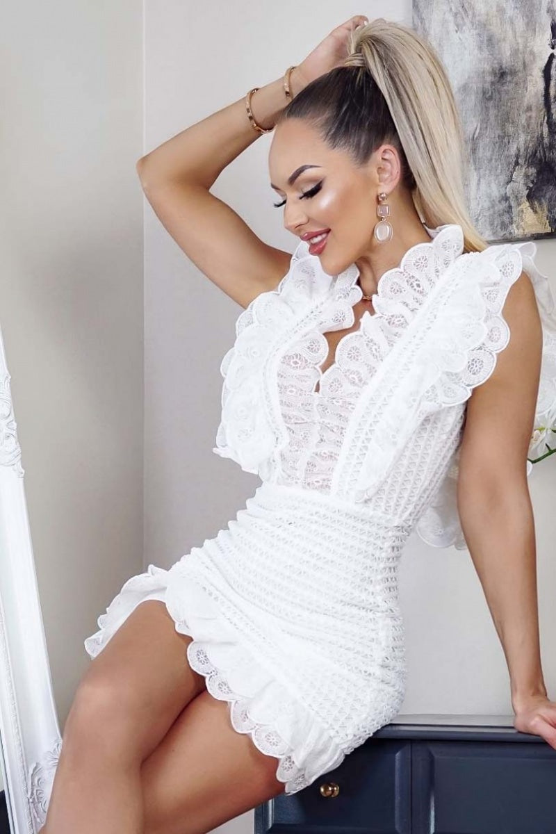 White Crochet Lace Ruffle Detail Dress