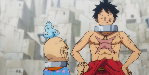 Queen-vs-Big mom-one piece-anime-luffy-red beans soup-monkey d. luffy